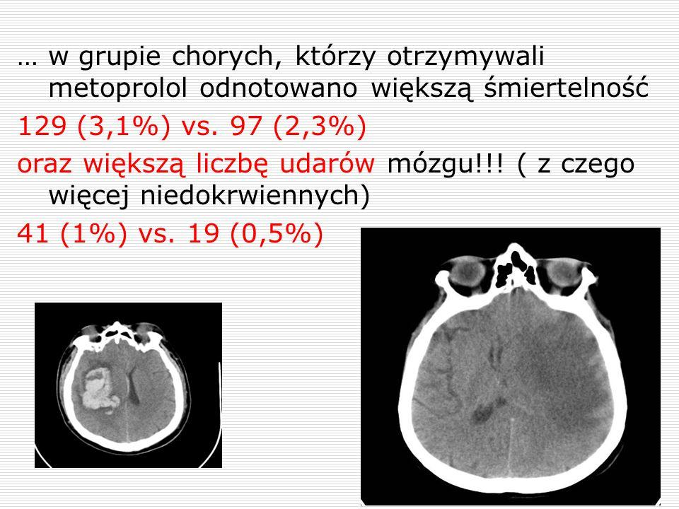 … w grupie chorych, którzy otrzymywali metoprolol odnotowano większą śmiertelność