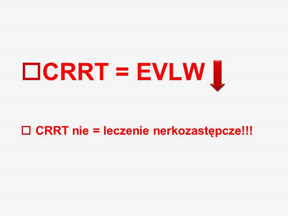 CRRT = EVLW CRRT nie = leczenie nerkozastępcze!!!