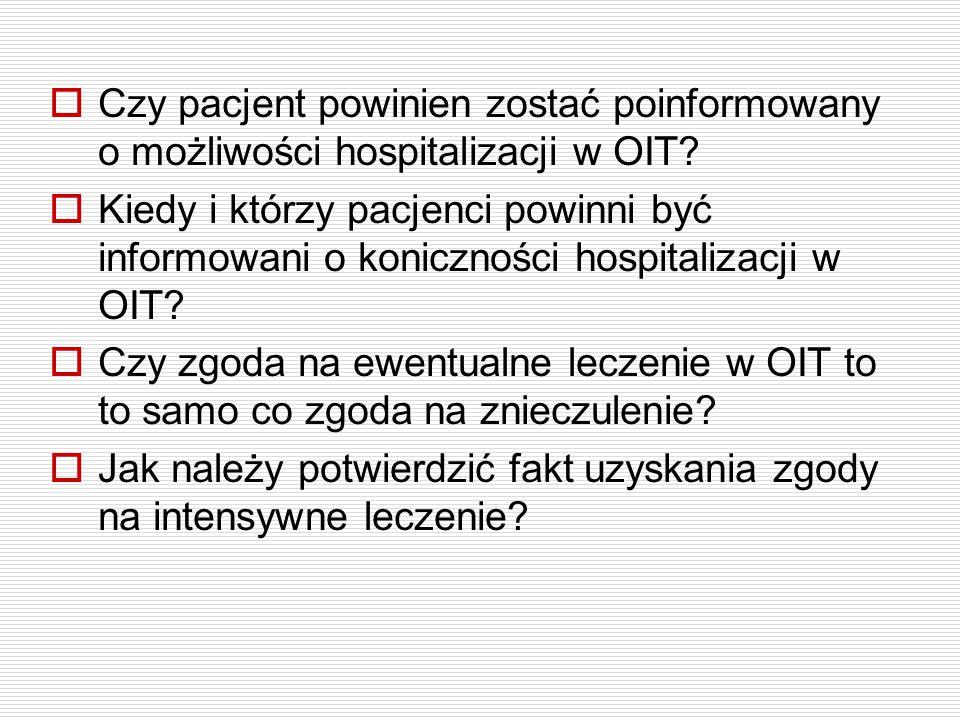 Czy pacjent powinien zostać poinformowany o możliwości hospitalizacji w OIT