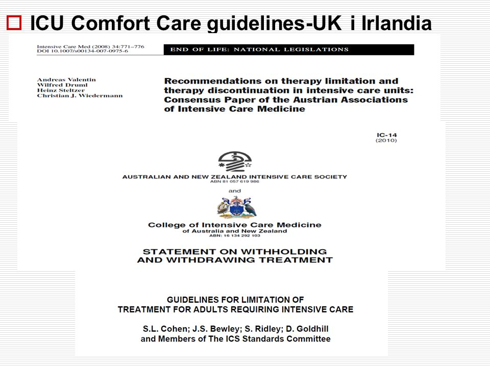 ICU Comfort Care guidelines-UK i Irlandia