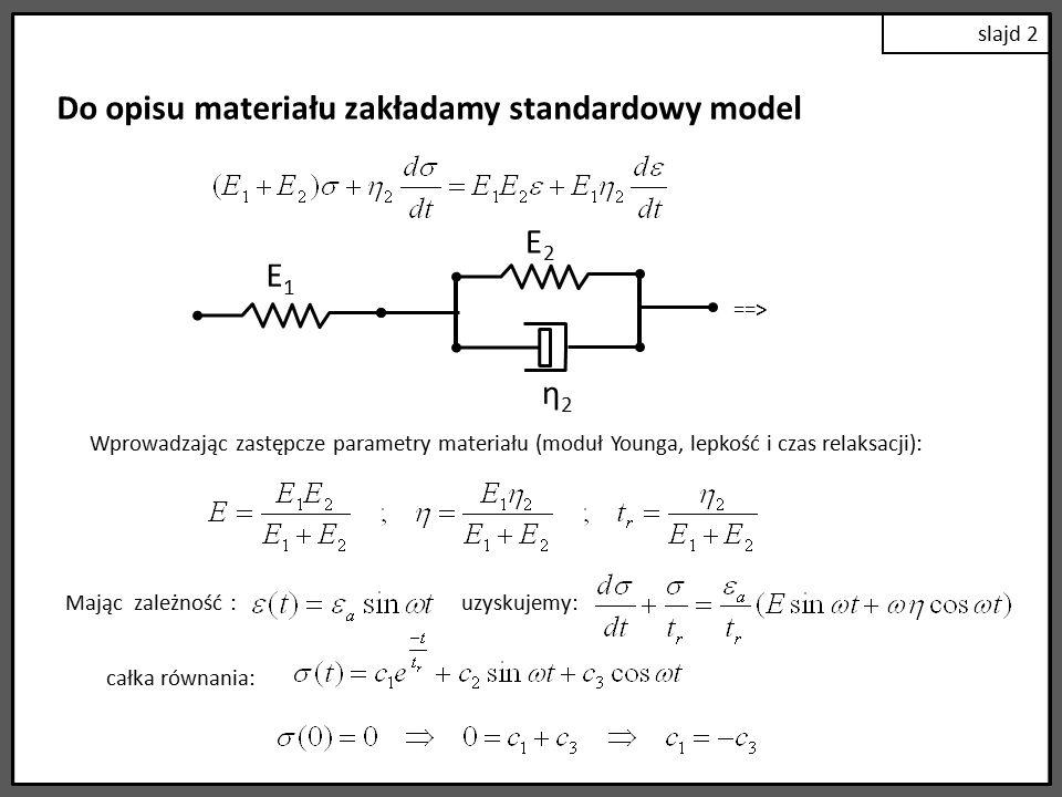 Do opisu materiału zakładamy standardowy model