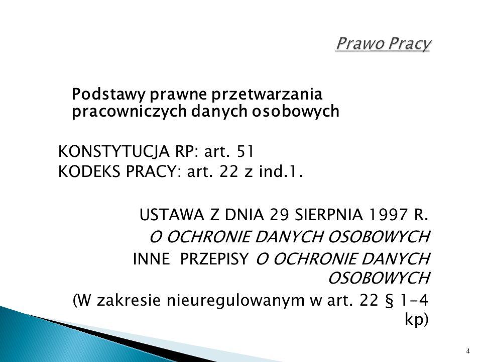 Prawo Pracy Podstawy prawne przetwarzania pracowniczych danych osobowych. KONSTYTUCJA RP: art. 51.