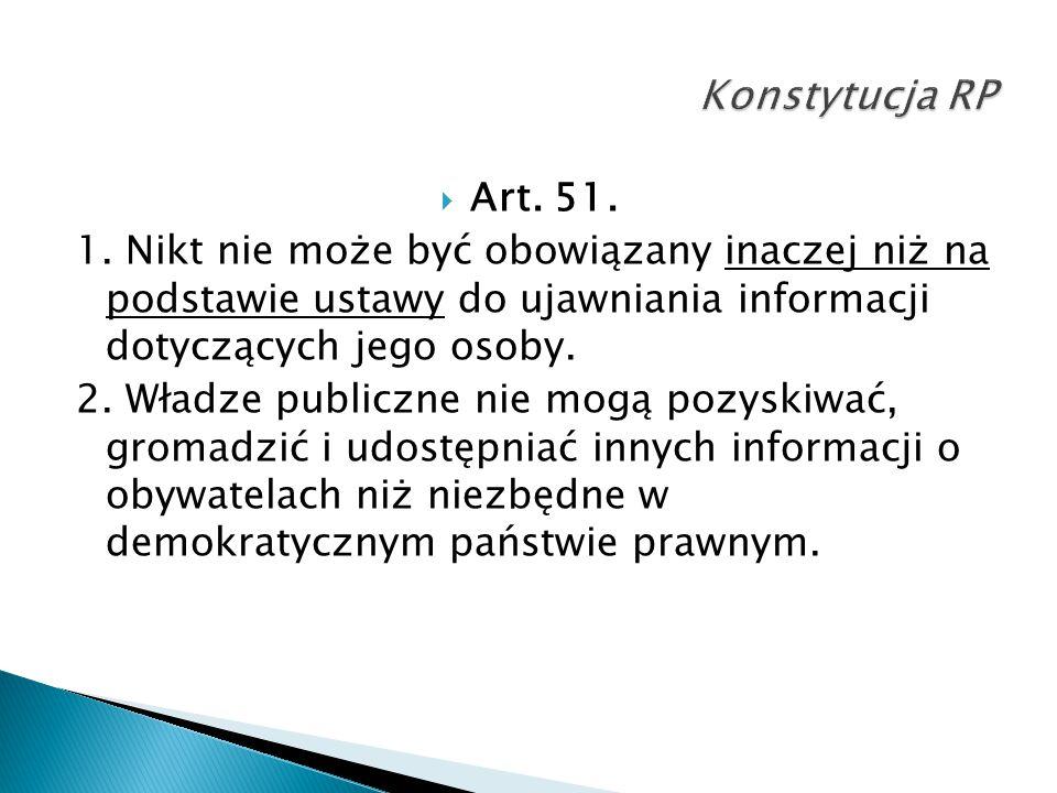 Konstytucja RP Art. 51. 1. Nikt nie może być obowiązany inaczej niż na podstawie ustawy do ujawniania informacji dotyczących jego osoby.