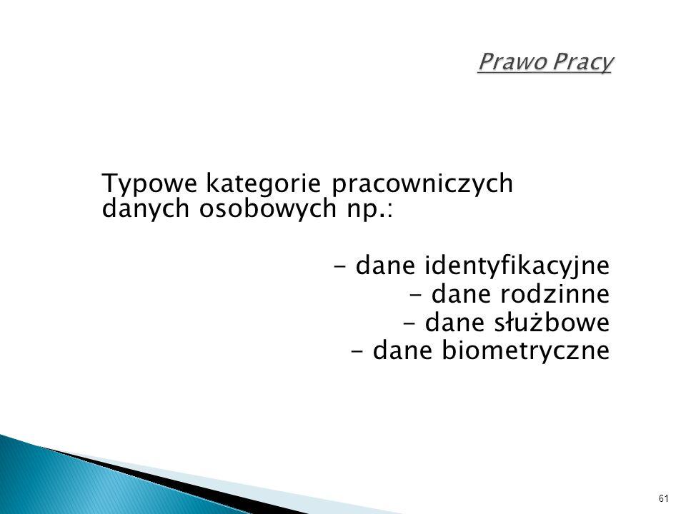 Typowe kategorie pracowniczych danych osobowych np.: