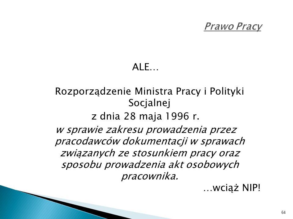 Rozporządzenie Ministra Pracy i Polityki Socjalnej