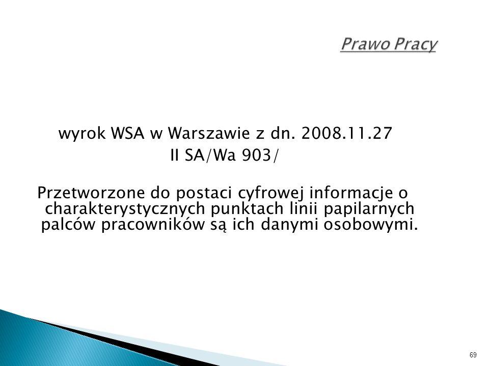 wyrok WSA w Warszawie z dn. 2008.11.27