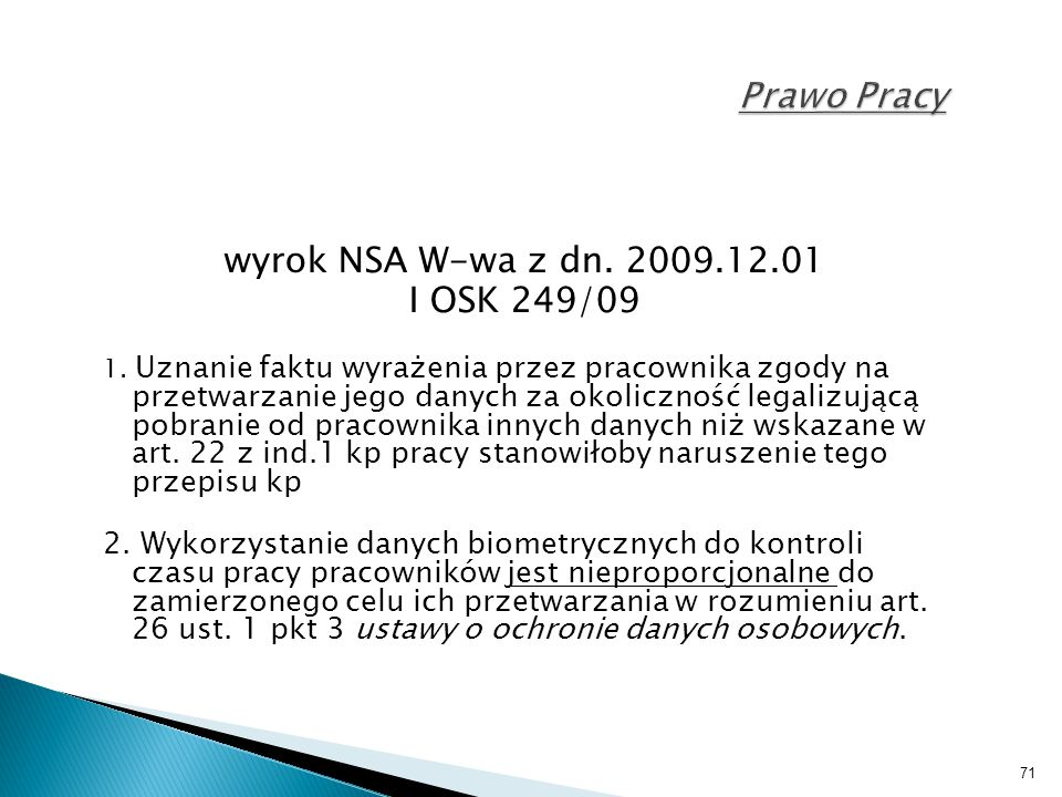 Prawo Pracy wyrok NSA W-wa z dn. 2009.12.01 I OSK 249/09