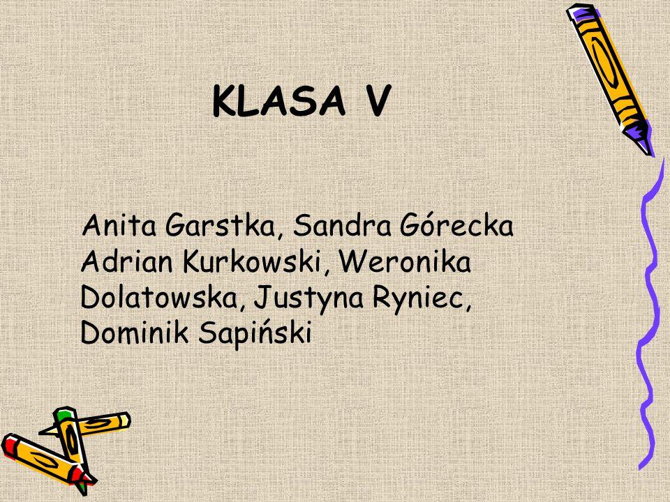 KLASA V Anita Garstka, Sandra Górecka Adrian Kurkowski, Weronika Dolatowska, Justyna Ryniec, Dominik Sapiński.