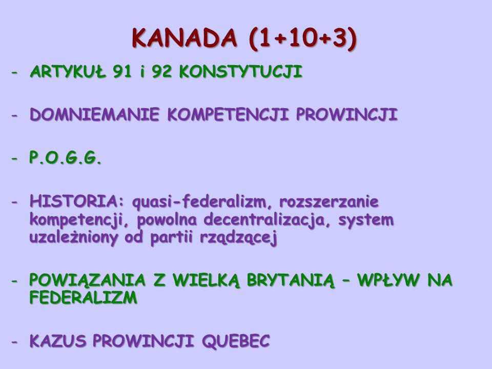 KANADA (1+10+3) ARTYKUŁ 91 i 92 KONSTYTUCJI