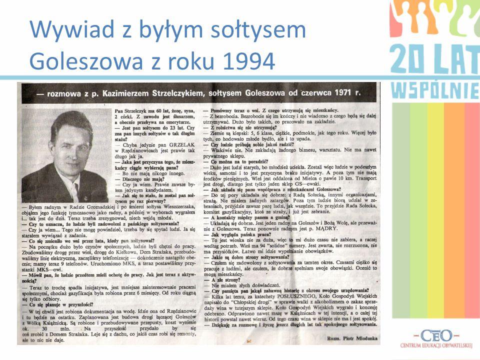 Wywiad z byłym sołtysem Goleszowa z roku 1994