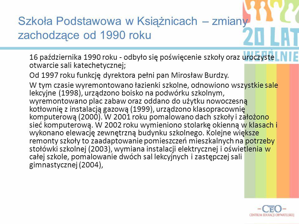 Szkoła Podstawowa w Książnicach – zmiany zachodzące od 1990 roku