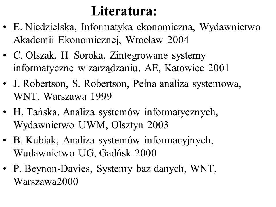 Literatura: E. Niedzielska, Informatyka ekonomiczna, Wydawnictwo Akademii Ekonomicznej, Wrocław 2004.
