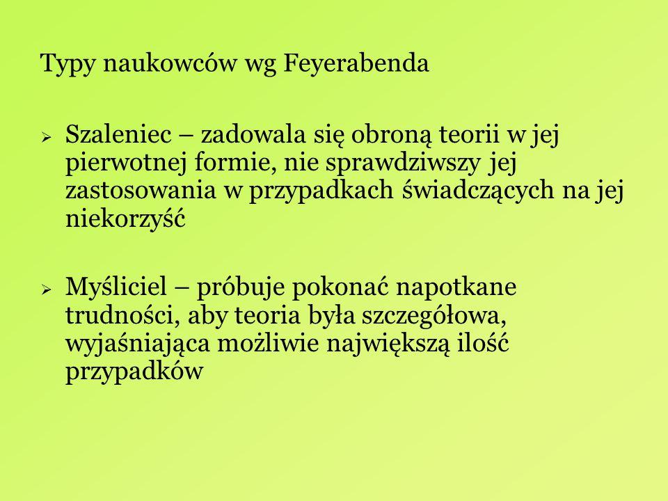 Typy naukowców wg Feyerabenda