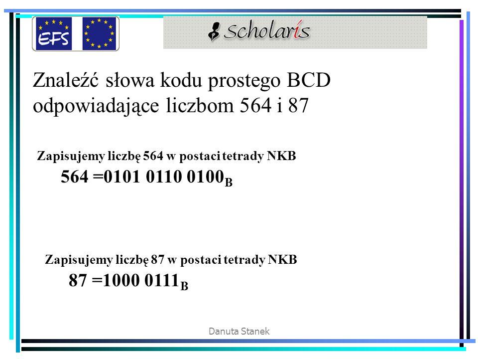 Znaleźć słowa kodu prostego BCD odpowiadające liczbom 564 i 87
