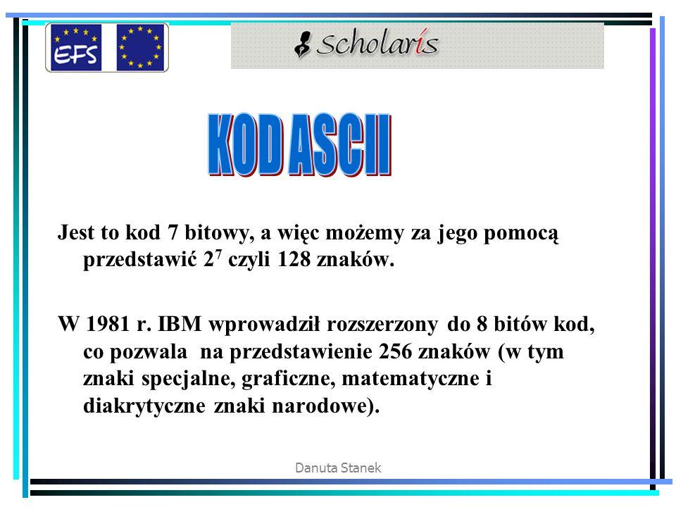 KOD ASCII Jest to kod 7 bitowy, a więc możemy za jego pomocą przedstawić 27 czyli 128 znaków.