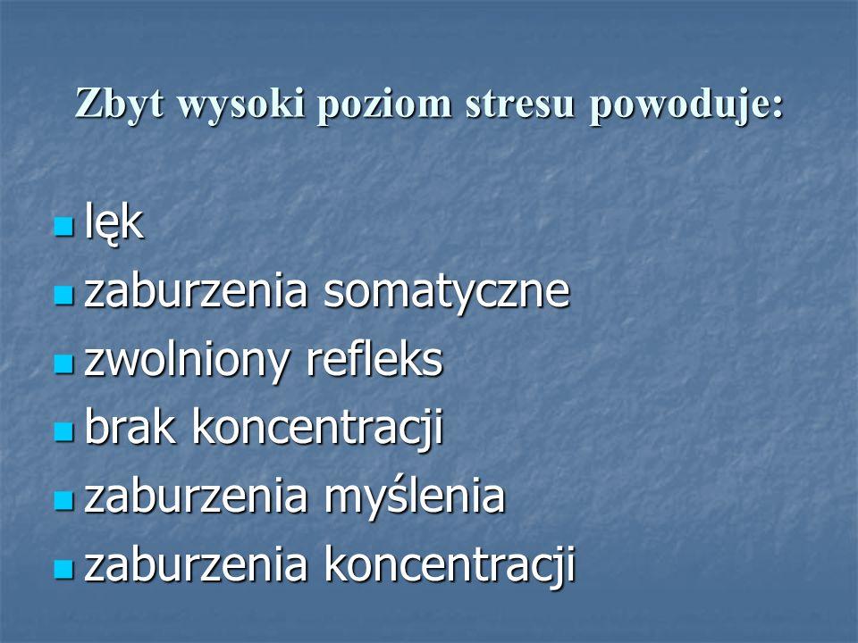 Zbyt wysoki poziom stresu powoduje: