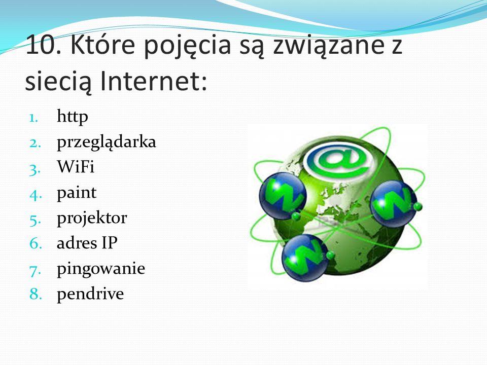 10. Które pojęcia są związane z siecią Internet: