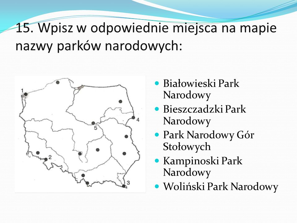 15. Wpisz w odpowiednie miejsca na mapie nazwy parków narodowych: