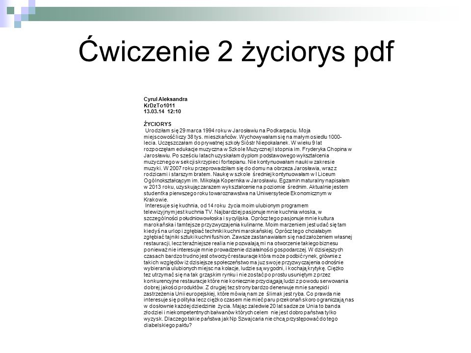 Ćwiczenie 2 życiorys pdf