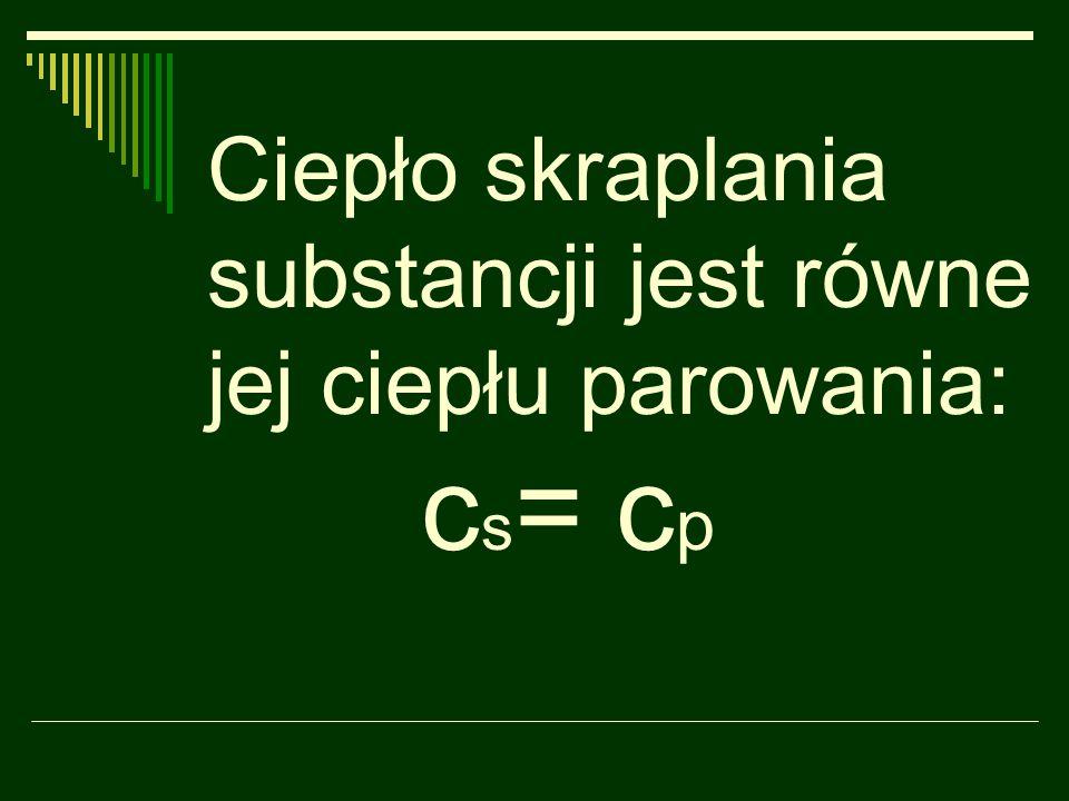 Ciepło skraplania substancji jest równe jej ciepłu parowania: cs= cp
