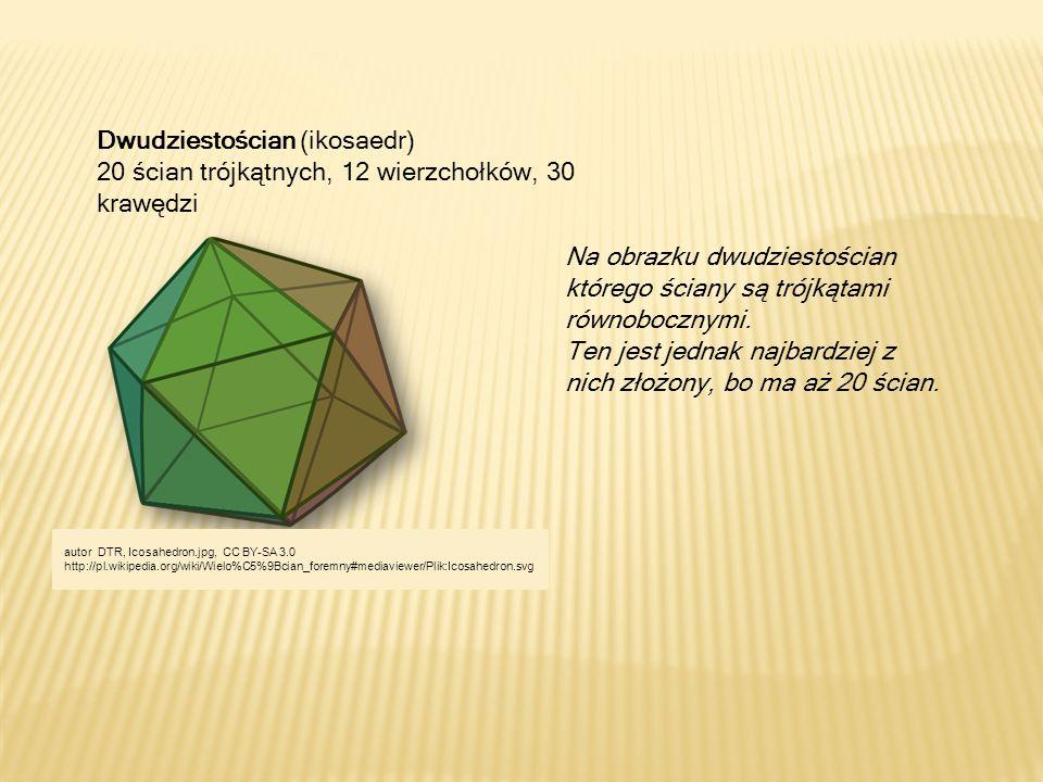 Na obrazku dwudziestościan którego ściany są trójkątami równobocznymi.