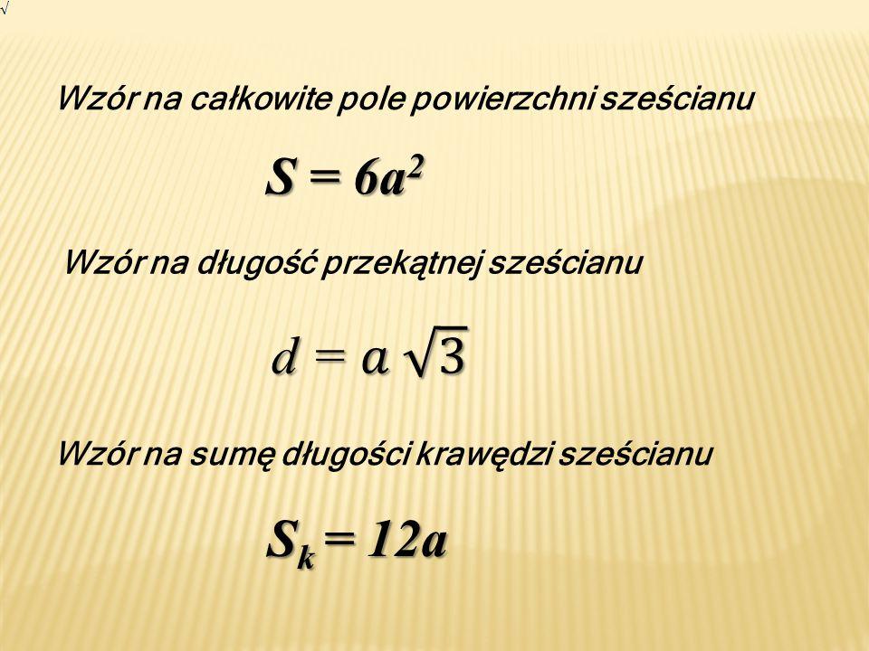 S = 6a2 d = 𝑎 3 Sk = 12a Wzór na całkowite pole powierzchni sześcianu