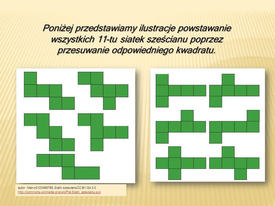 Poniżej przedstawiamy ilustracje powstawanie wszystkich 11-tu siatek sześcianu poprzez przesuwanie odpowiedniego kwadratu.