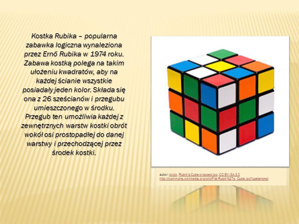 Kostka Rubika – popularna zabawka logiczna wynaleziona przez Ernő Rubika w 1974 roku. Zabawa kostką polega na takim ułożeniu kwadratów, aby na każdej ścianie wszystkie posiadały jeden kolor. Składa się ona z 26 sześcianów i przegubu umieszczonego w środku. Przegub ten umożliwia każdej z zewnętrznych warstw kostki obrót wokół osi prostopadłej do danej warstwy i przechodzącej przez środek kostki.