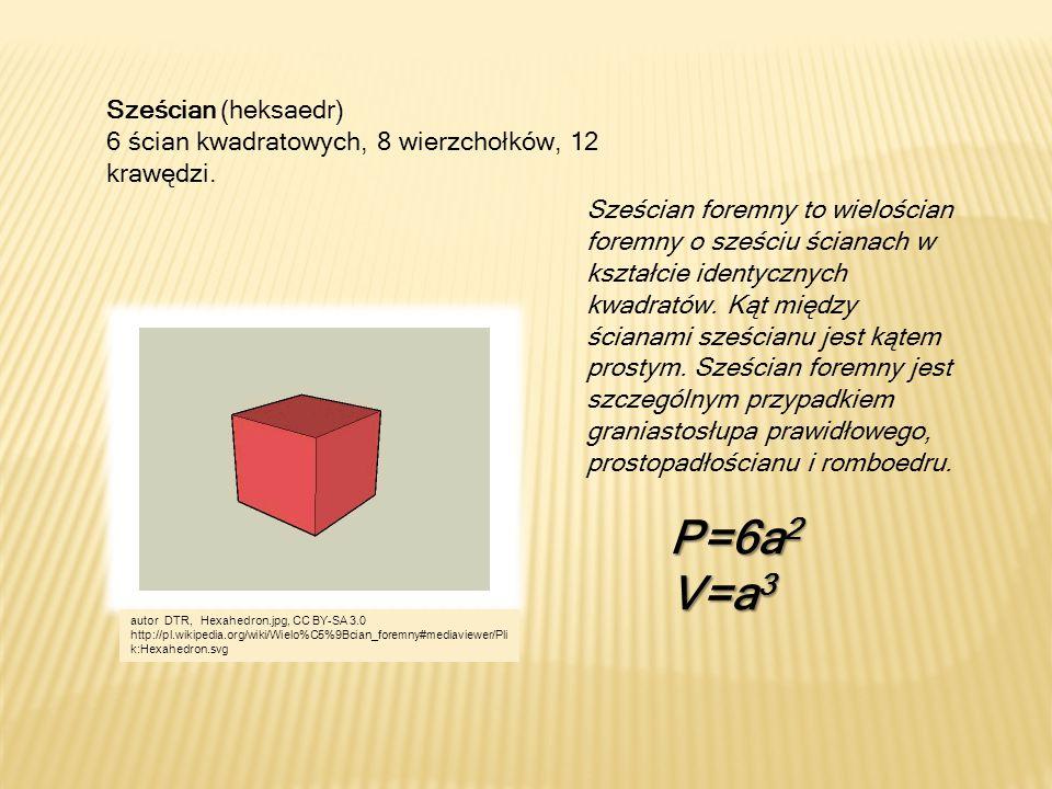 Sześcian (heksaedr) 6 ścian kwadratowych, 8 wierzchołków, 12 krawędzi.