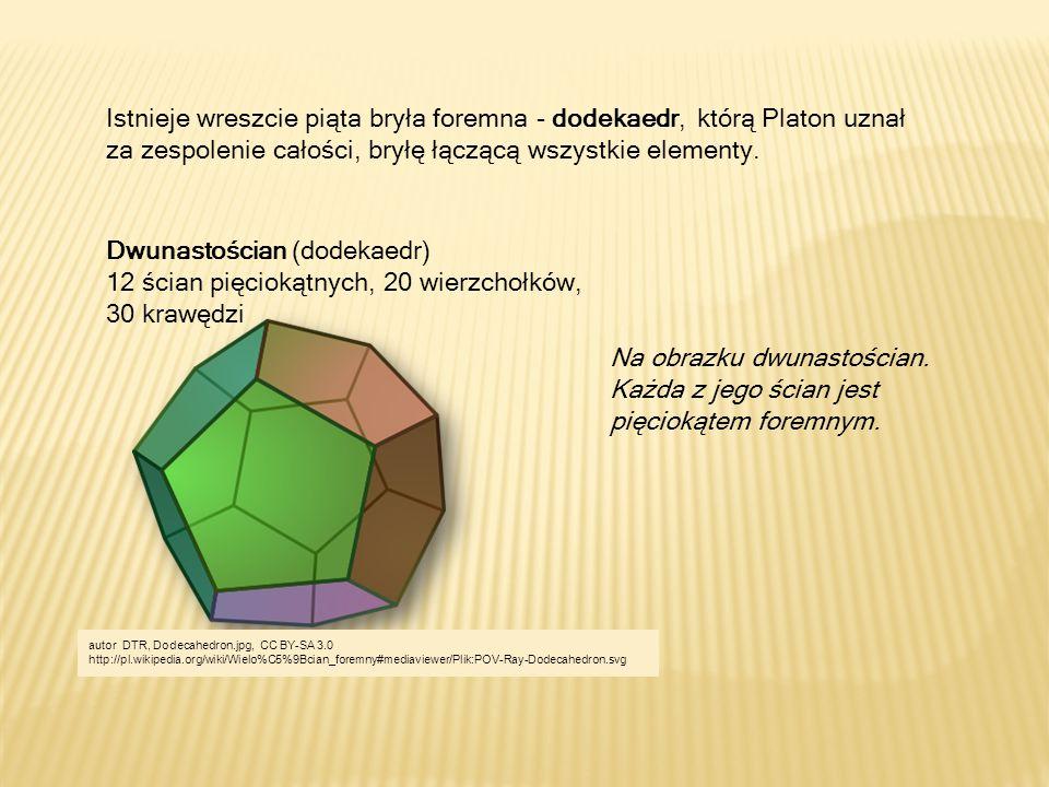 Istnieje wreszcie piąta bryła foremna - dodekaedr, którą Platon uznał za zespolenie całości, bryłę łączącą wszystkie elementy.