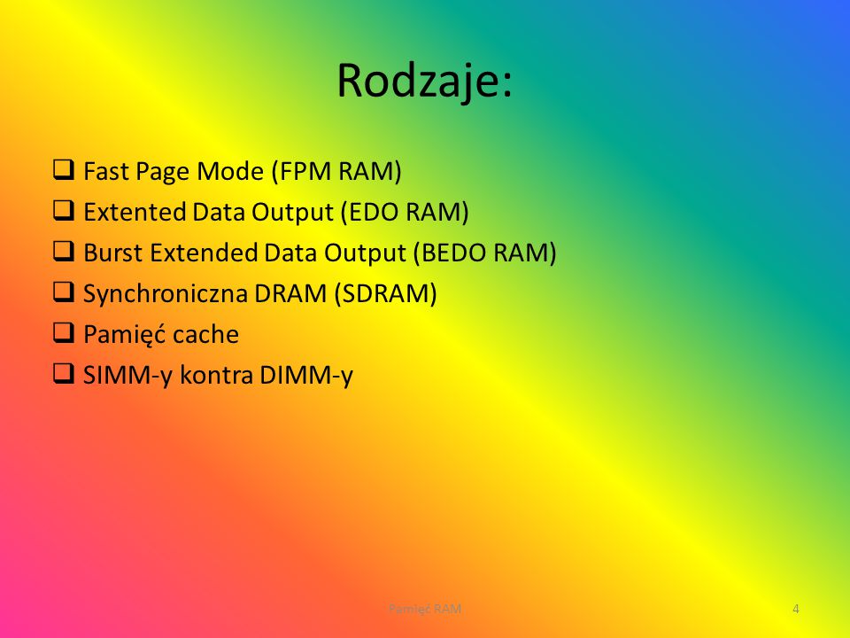Rodzaje: Fast Page Mode (FPM RAM) Extented Data Output (EDO RAM)