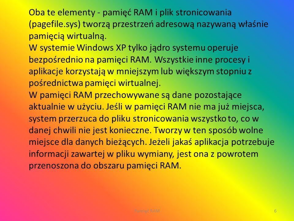 Oba te elementy - pamięć RAM i plik stronicowania (pagefile
