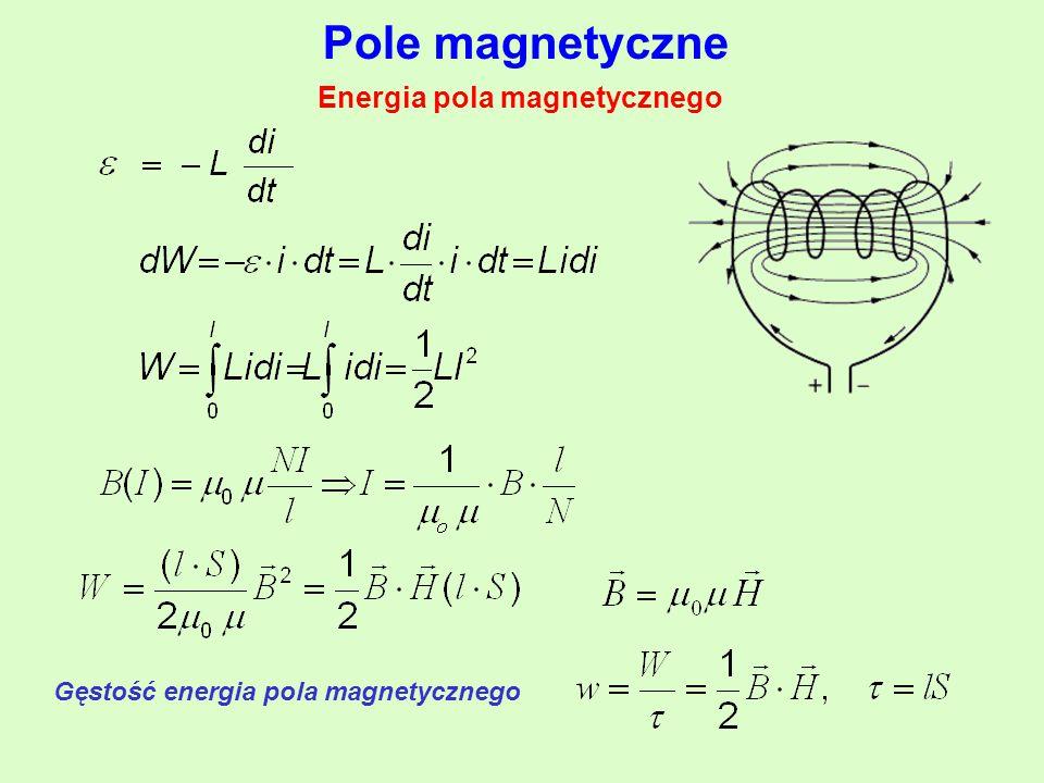 Pole magnetyczne Energia pola magnetycznego