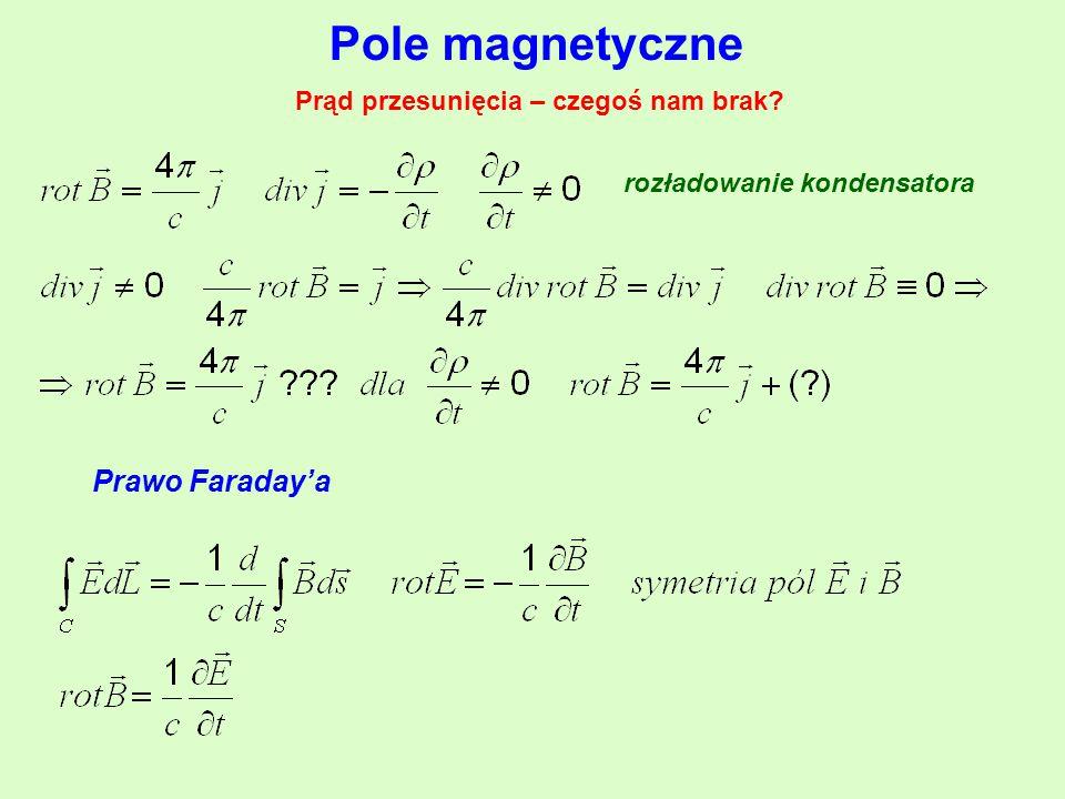 Pole magnetyczne Prawo Faraday'a Prąd przesunięcia – czegoś nam brak