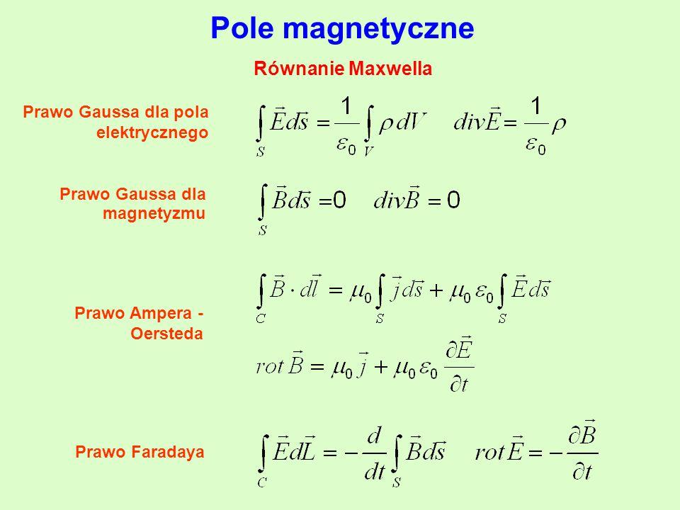 Pole magnetyczne Równanie Maxwella Prawo Gaussa dla pola elektrycznego