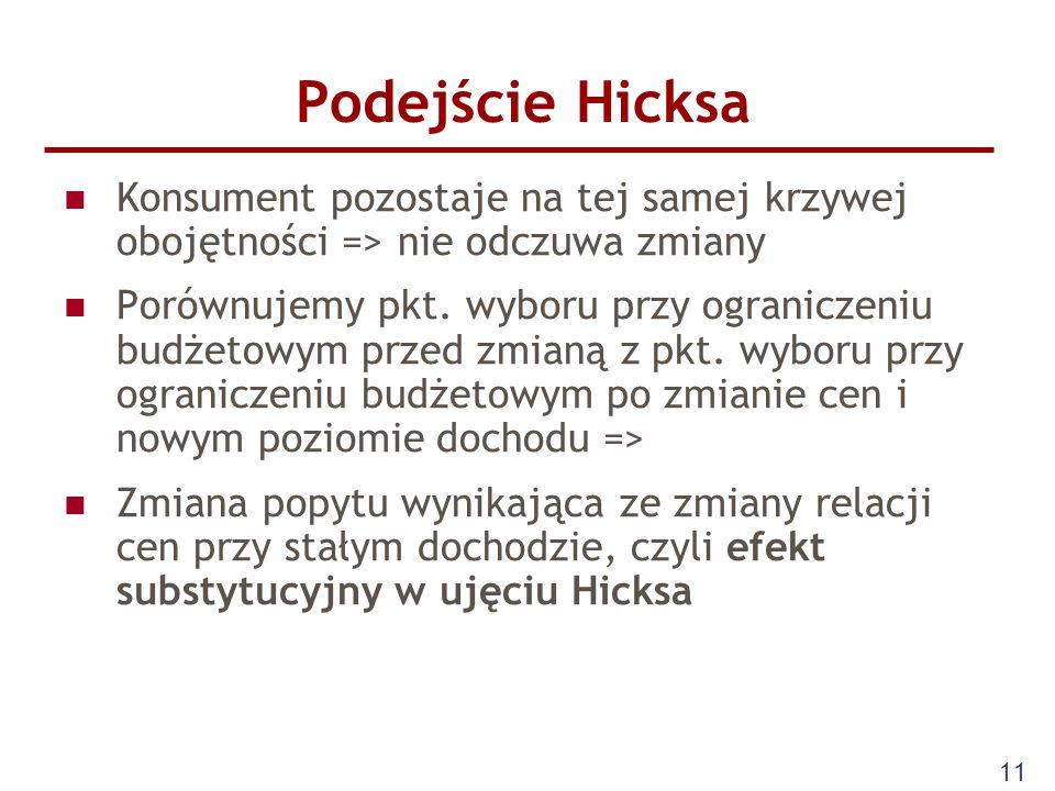 Podejście Hicksa Konsument pozostaje na tej samej krzywej obojętności => nie odczuwa zmiany.