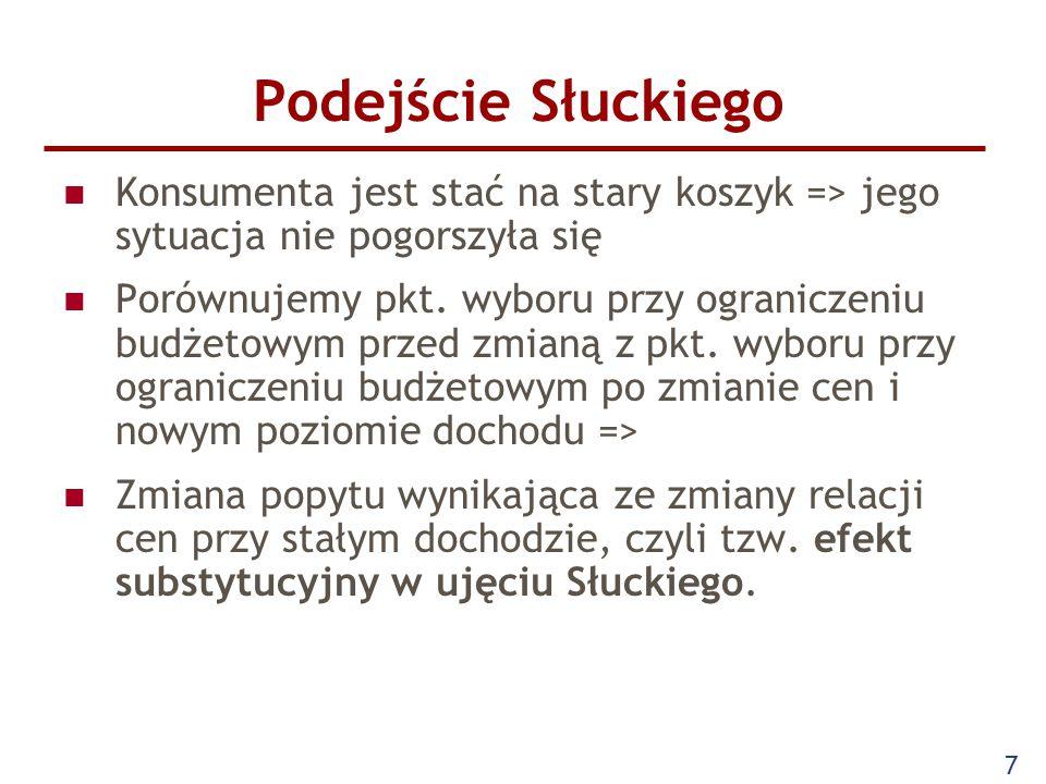 Podejście Słuckiego Konsumenta jest stać na stary koszyk => jego sytuacja nie pogorszyła się.