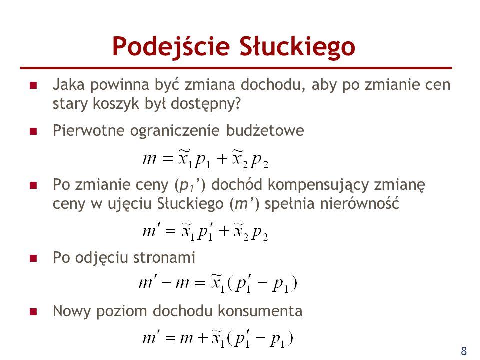 Podejście Słuckiego Jaka powinna być zmiana dochodu, aby po zmianie cen stary koszyk był dostępny Pierwotne ograniczenie budżetowe.