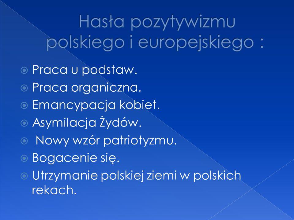 Hasła pozytywizmu polskiego i europejskiego :