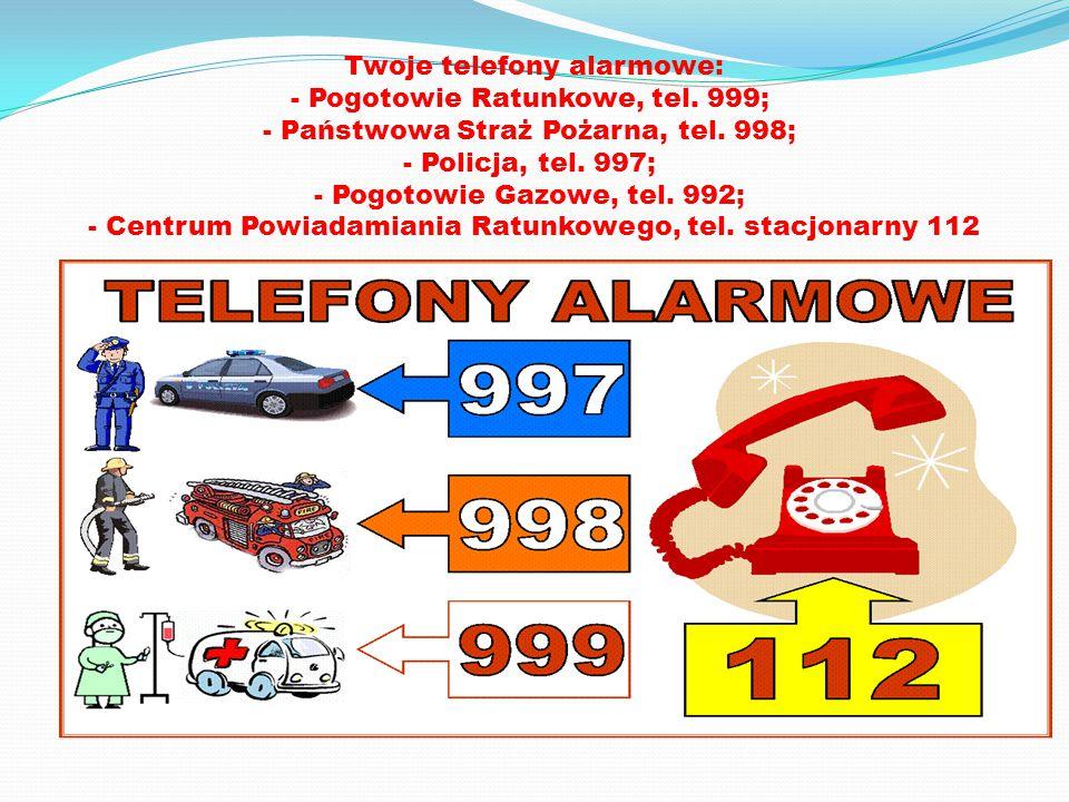 Twoje telefony alarmowe: - Pogotowie Ratunkowe, tel