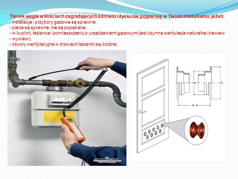 Tlenek węgla w ilościach zagrażających zdrowiu i życiu nie pojawi się w Twoim mieszkaniu, jeżeli: - instalacja i przybory gazowe są sprawne; - piece są sprawne, nie są popękane; - w kuchni, łazience i pomieszczeniu z urządzeniami gazowymi jest czynna wentylacja naturalna (nawiew - wywiew); - otwory wentylacyjne w drzwiach łazienki są drożne;