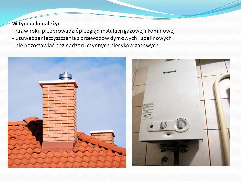 W tym celu należy: - raz w roku przeprowadzić przegląd instalacji gazowej i kominowej - usuwać zanieczyszczenia z przewodów dymowych i spalinowych - nie pozostawiać bez nadzoru czynnych piecyków gazowych