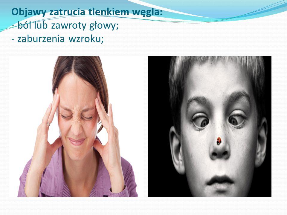 Objawy zatrucia tlenkiem węgla: - ból lub zawroty głowy; - zaburzenia wzroku;