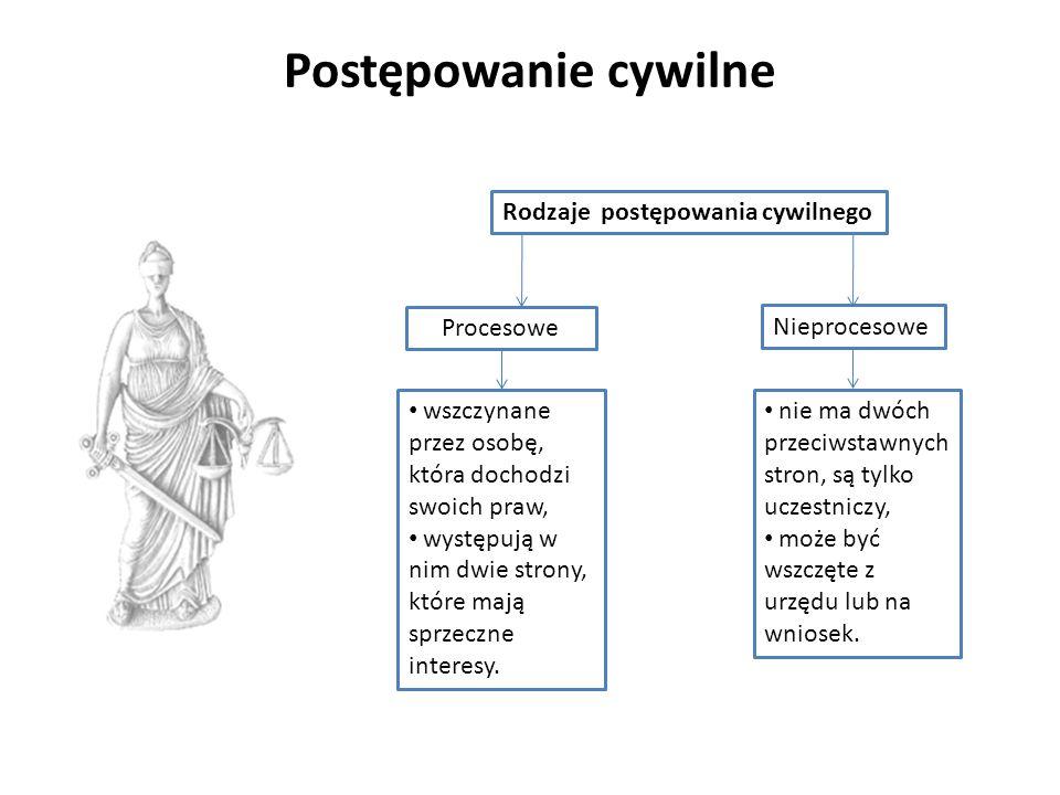 Postępowanie cywilne Rodzaje postępowania cywilnego Procesowe