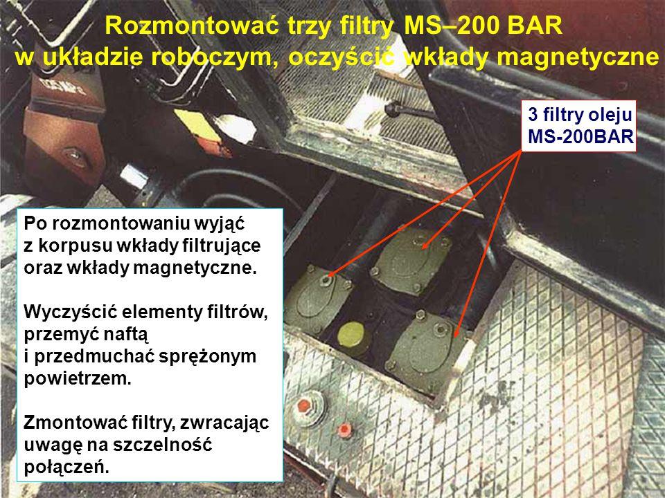 Rozmontować trzy filtry MS–200 BAR