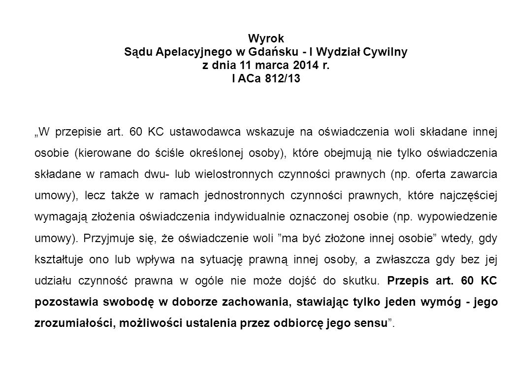 Sądu Apelacyjnego w Gdańsku - I Wydział Cywilny