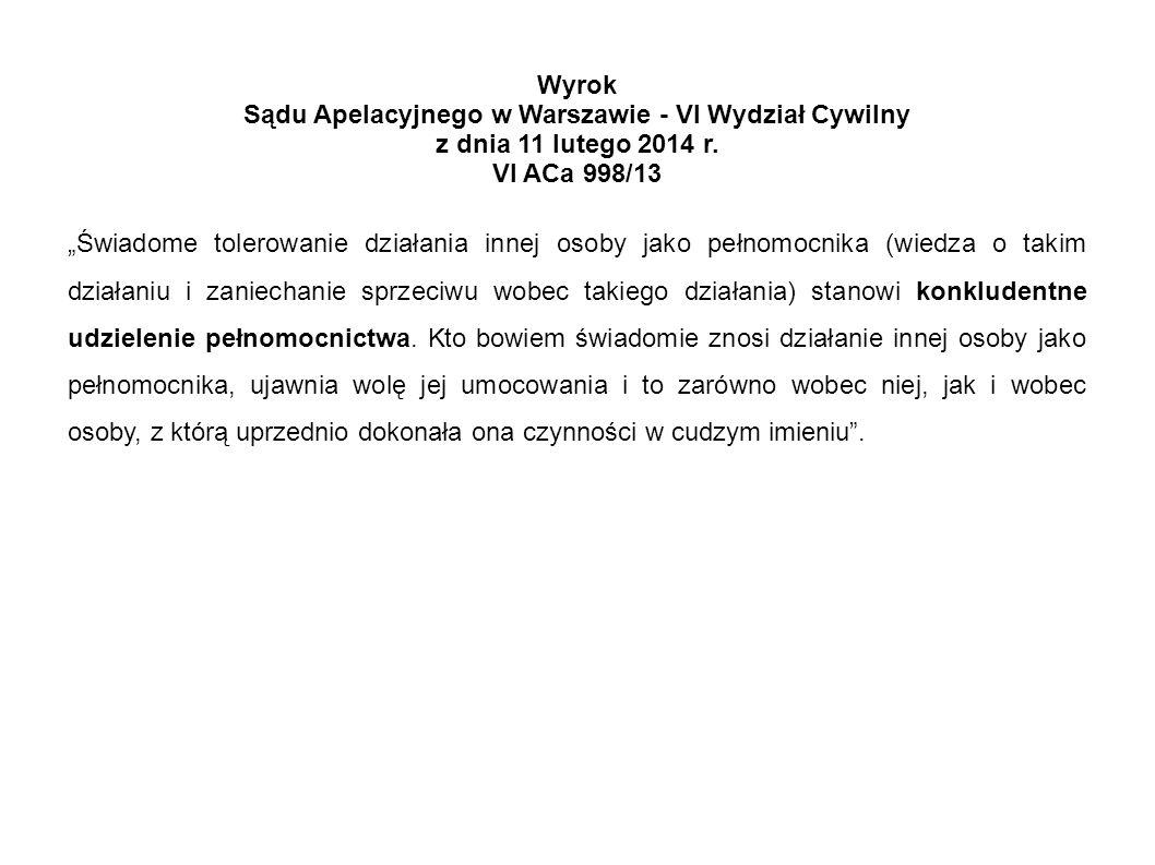 Sądu Apelacyjnego w Warszawie - VI Wydział Cywilny