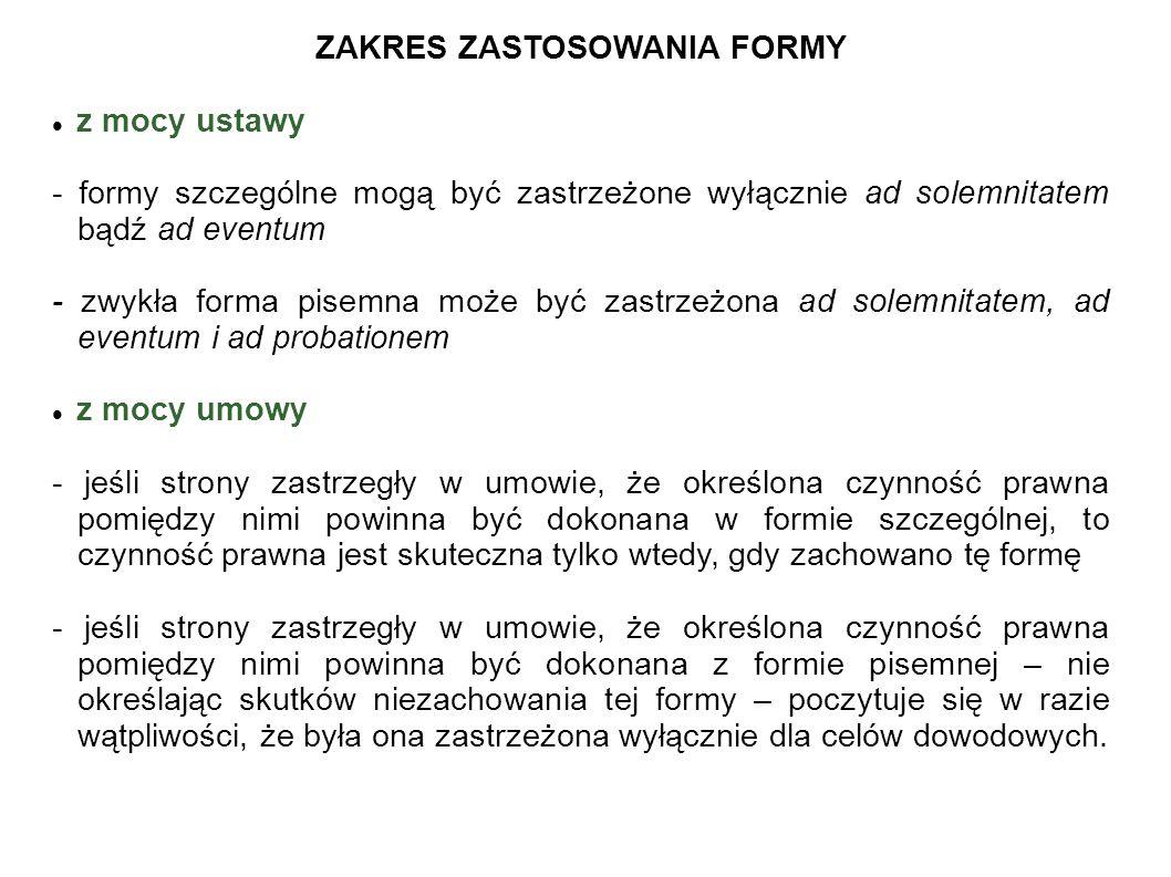 ZAKRES ZASTOSOWANIA FORMY
