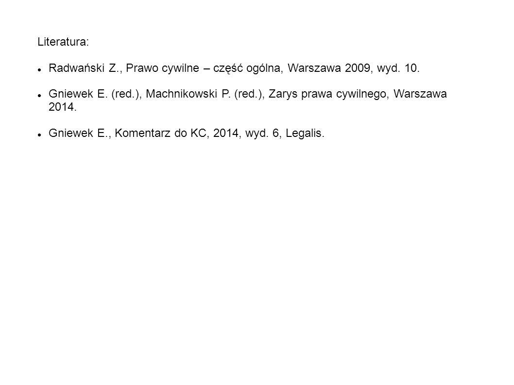 Literatura: Radwański Z., Prawo cywilne – część ogólna, Warszawa 2009, wyd. 10.