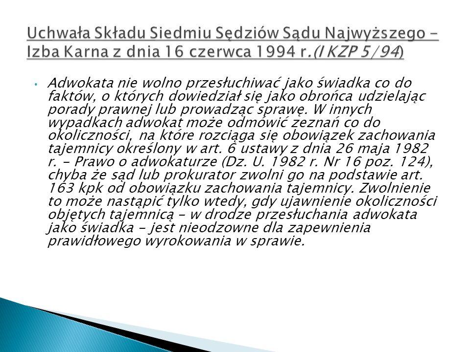 Uchwała Składu Siedmiu Sędziów Sądu Najwyższego - Izba Karna z dnia 16 czerwca 1994 r.(I KZP 5/94)